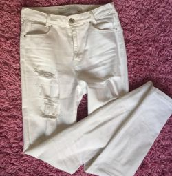 White jeans with high