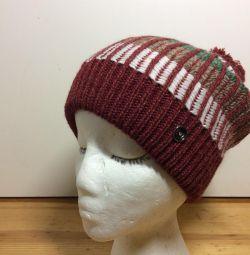 Модная подростковая шапка с помпоном,54-57,арт 296