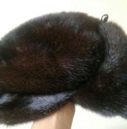 Mink men's hat with earflaps (cap)