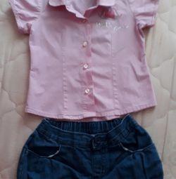 Shirt + shorts pentru 2-3 ani