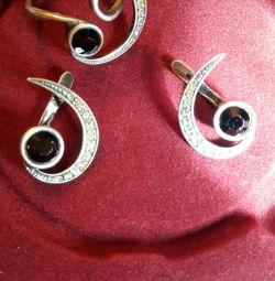 Сережки і кільце, комплект ,, Алькор ,,