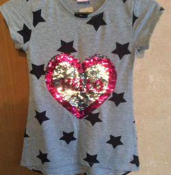 New T-shirt for girl height 128, Turkey