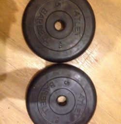 Spor için 5 kg disk.
