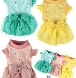 Dress with a bow pink (clothes for dogs)