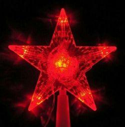 Звезда на елку красная светящаяся
