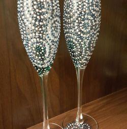 Pahare de șampanie de nuntă realizate manual
