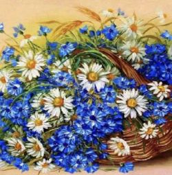 Diamond embroidery mosaic cornflowers