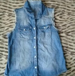 denim shirt- vest