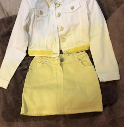 Set skirt and jeans for girls