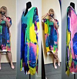 Дизайнерское платье-туника 54-62 вязаный лен
