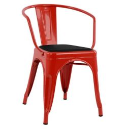 MELITA ARMCHAIR RED & SEAT PU BLACK HM806