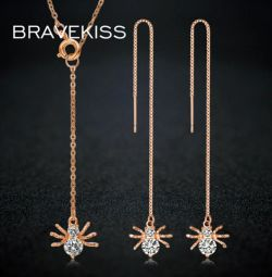 Ρυθμίστε την αλυσίδα με σκουλαρίκια με κρεμαστά + αράχνες