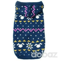 Sweater blue with patterns (clothes for dogs)