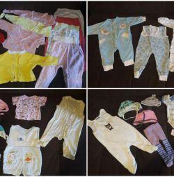 Çocuk kıyafetleri 68 cm'ye kadar büyüme için paket
