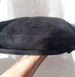 Мужская кепка из натуральной дубленки.