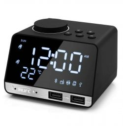 ? Clock Speaker bt Radio Alarm clock t˚ 2USB Mirror