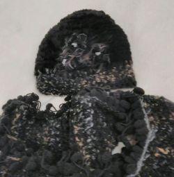 Шапка (мутон) + шарф