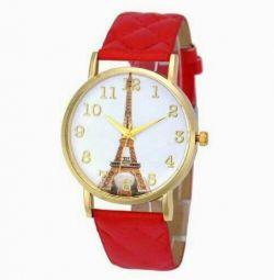 Часы наручные женские красные новые