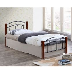 Simple Metal Wood Bed 90x190