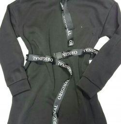 Tunic dress black on a thin fleece