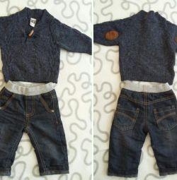 Jeans și pulover banda o l'oeil