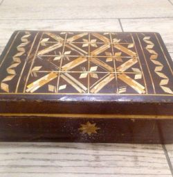 Wooden box of handmade USSR. Vintage