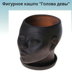 Кашпо Голова діви 17 * 14 * 15 см
