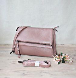 Нова шкіряна сумка благородного рожевого кольору