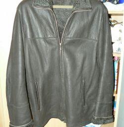 Leather sheepskin coat