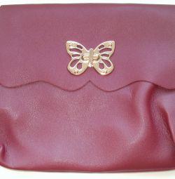 Handbag maroon leatherette. Size 24 * 18 * 3cm