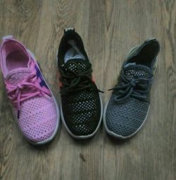 Sneakers for children in the presence of pink