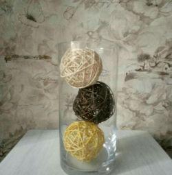Stylish vase with balls.