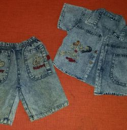Denim shorts and shirt, р.92-98