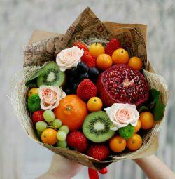 Μπουκέτα με φρούτα και καραμέλες