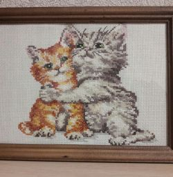 Cross-stitched picture ,, Kittens ,,