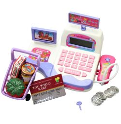 Cash register in a set for playing in a supermarket.