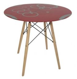 Round red glass table