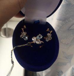 Och cool set gold topaz diamonds