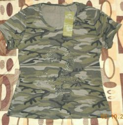T-shirt camouflage with rhinestones, new