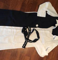 Платье рубашка Чeрное и белое