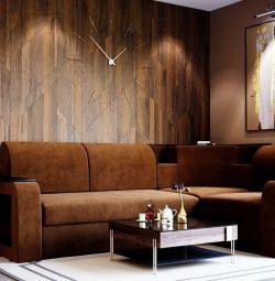 Угловой диван Фараон (на дельфине - коричневый )