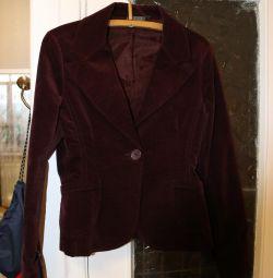 Пиджак плотный, иск.бархат, 44 размер.