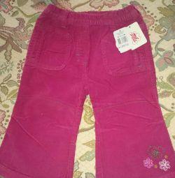 Pantaloni Corduroy pentru fata noua r.80. copil