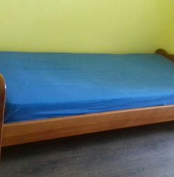 🌺 Кровать 1,5-спальная, массив сосны+матрас