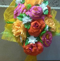 Bouquets of corrugated paper.