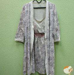 Комплект в пологовий будинок: сорочка і халат