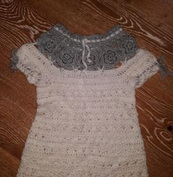 Knitted dress with a cardigan