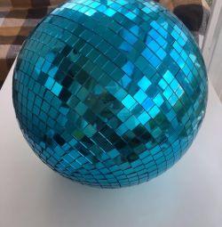 Классический диско шар 30см зеркальный шарик синий