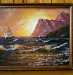 """Vânzare pictură în ulei """"Miere de apus de soare"""", 40x50cm"""