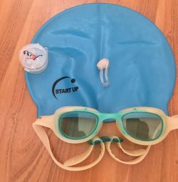 Set for swimming cap, glasses, nose clip, ear
